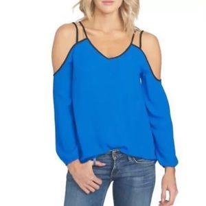1. State Blouse Cold Shoulder Top Blue Shirt